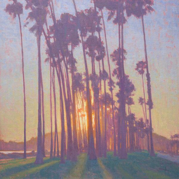 Santa Barbara Sunset • 24x24 inches • Oil on Linen Panel • Available from Dan Schultz Fine Art in Ojai, California